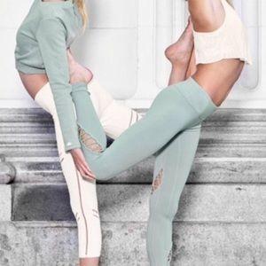Alo Yoga Entwine Detail Leggings Tights Sage Green